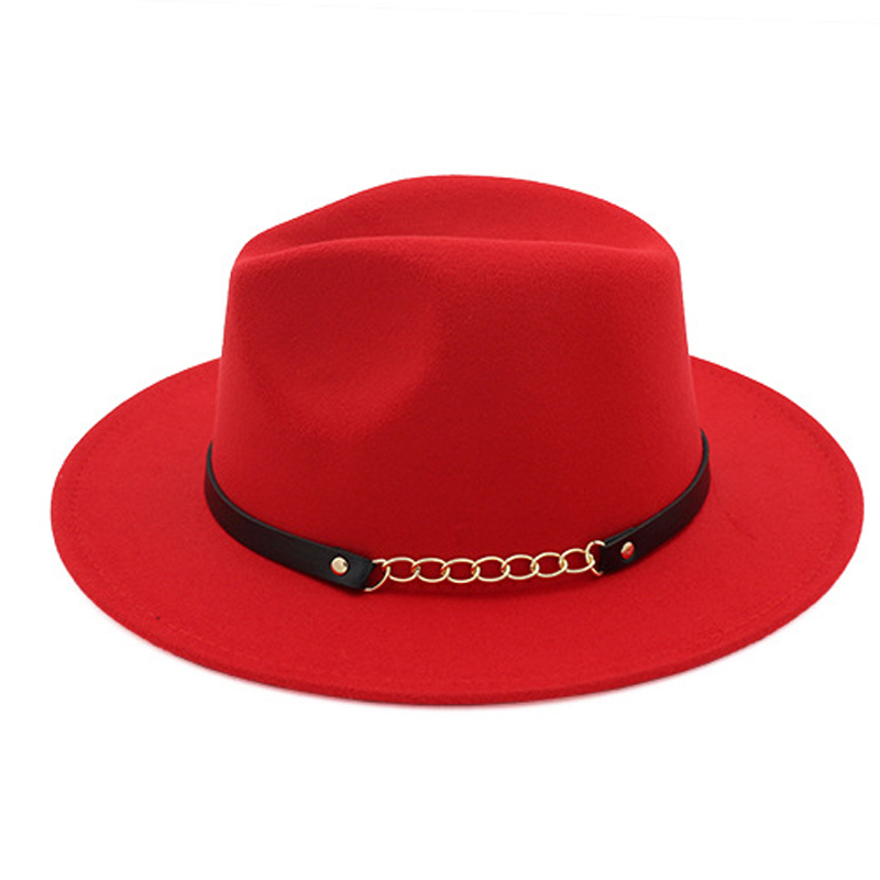 665d7f80 ... Autumn Winter Wool Felt Fedora Hats with Belt Wide flat Brim Jazz  Trilby Formal Top Hat ...