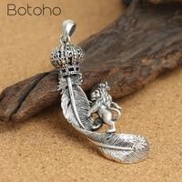 Pure100% 925 Sterling Silver Crown Lion Eagle Feather Pendant for Women Men Retro Fine Dendant Fit Original Necklace DIY Jewelry