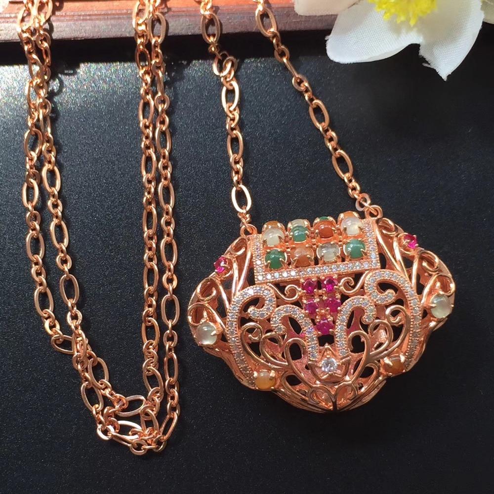 Fine Jewelry Real 925 Sterling Silver Natural 100% Myanmer Origin Jade Pendant Neckalces for Women Fine Pendants Necklace