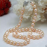 Hot Free Shipping New 2014 Fashion Style Diy Natural 8 9mm Pink Akoya Pearl Necklace 17