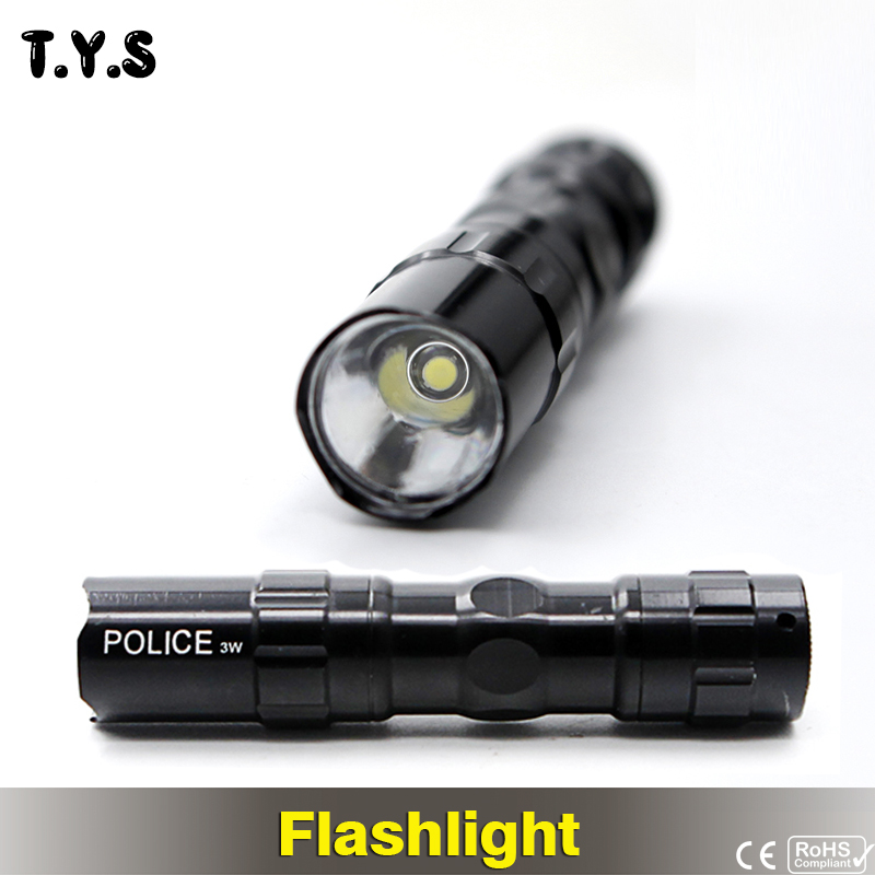 TYS Powerful LED Tactical Flash light Torch Police Search Hunting Lght Keychain Flashlight LED Lantern Battery Searchlight Lamp