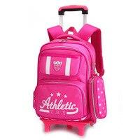 Removable Children School Bags Boys Girls 3 Wheels Bags Kids Trolley Backpacks Schoolbag Luggage Book Bag