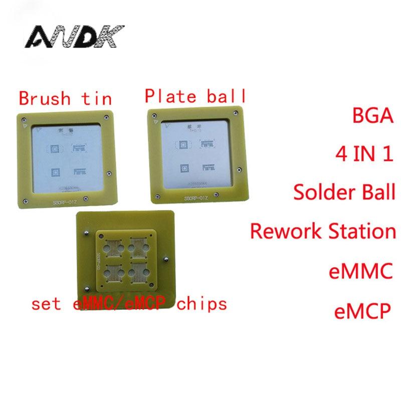 eMMC/eMCP Reballing stencil 4 in 1 BGA Rework Station eMMC153 eMMC169 eMCP162 eMCP186 Reball Jig Solder Ball Mounting NAND chips