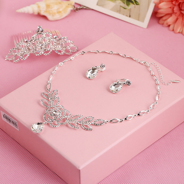 3set/lot NY bride set three sets of high-end chain Korean bride wedding accessories wholesale jewelry factory