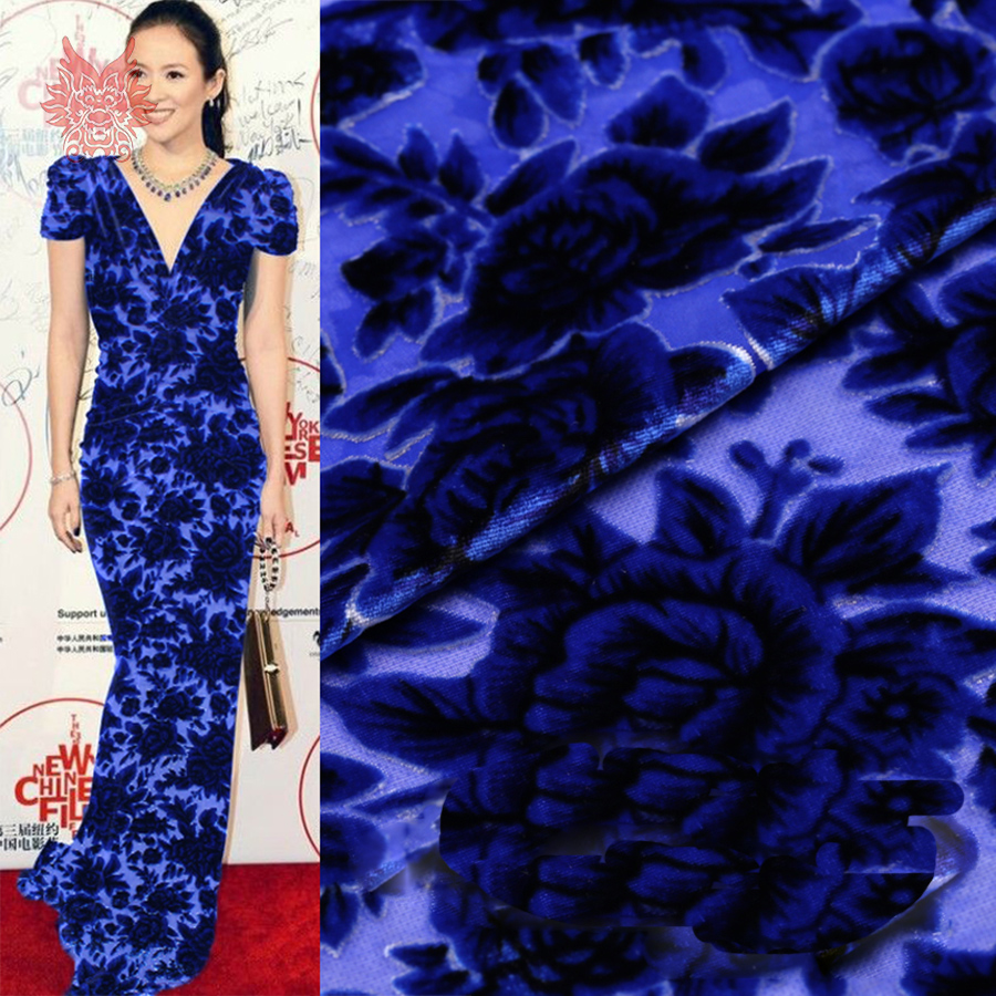 Blue floral burnout fabric for sewing rayon silk velvet for Cloth material for sewing