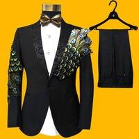 Бесплатная Доставка мужские черные/Королевский синий цвет/красный павлин Бисероплетение Вышивка смокинг комплект для выступления куртка