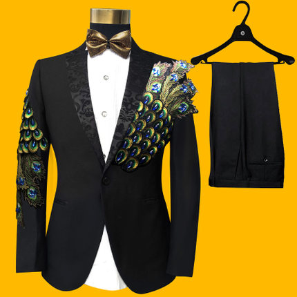 Free shipping mens black/royal blue/red peacock beading embroidery tuxedo set/stage performance  jacket with pants