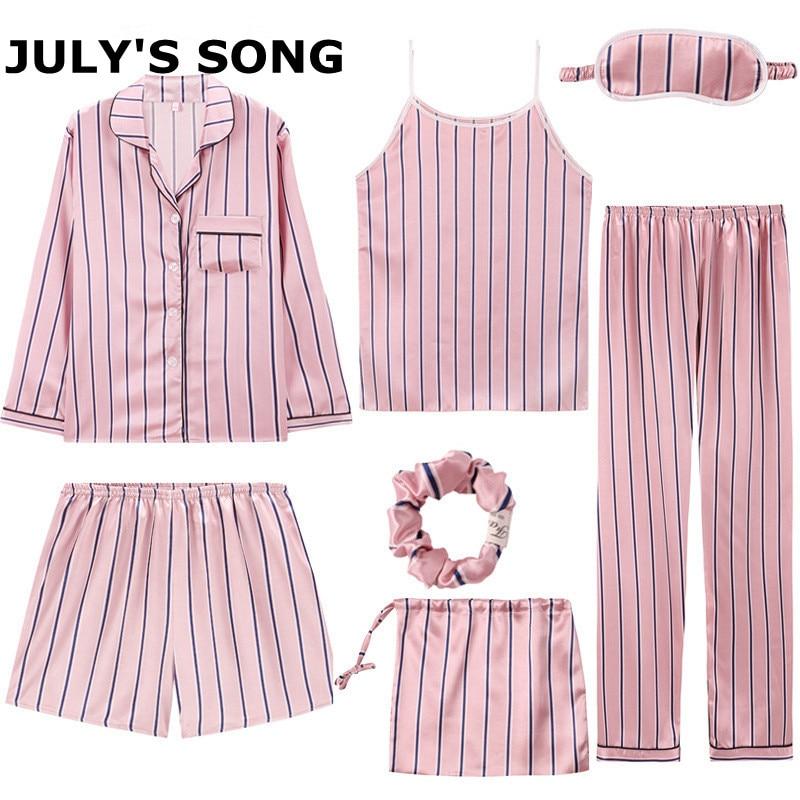 JULY'S SONG Women 7 Pieces Pajamas Sets Stain Faux Silk Pajamas Women Sleepwear Sets  Autumn Winter Tops+Shorts+Shirt+Pants