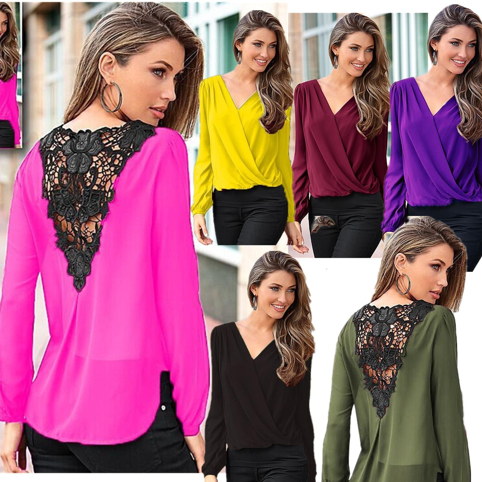 Rrive Womens T-Shirts Loose V-Neck Long Sleeve Cross T-Shirt Top Blouse