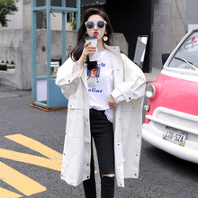 2019 White Long Trench Coat For Women Casual Fashion Hooded Coat Trench Women Super Loose Trench Overcoat Pocket Single-breasted все цены