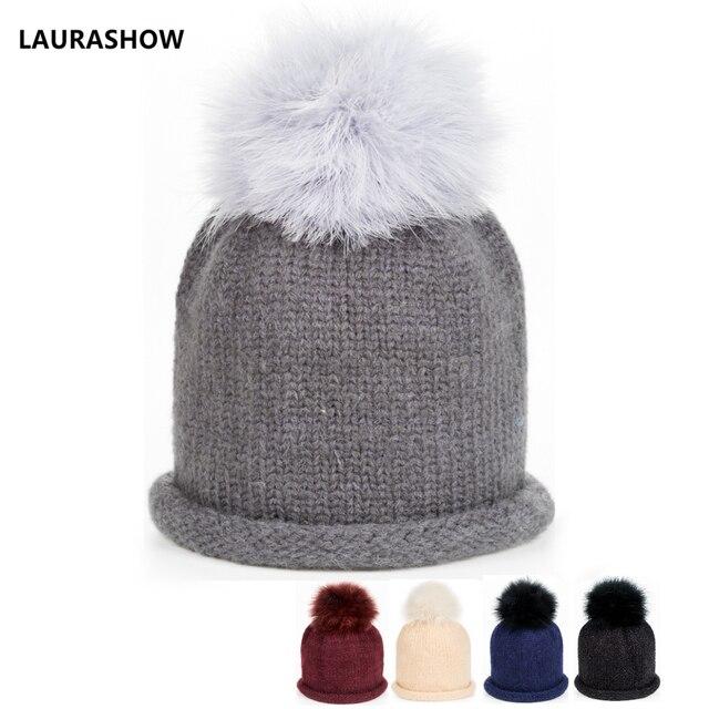 ebcdd10dfe9 LAURASHOW Beanies Raccoon Fur Pom Poms Wool Hat Knitted Skullies Caps  Ladies Knit Winter Hats For kids Girls