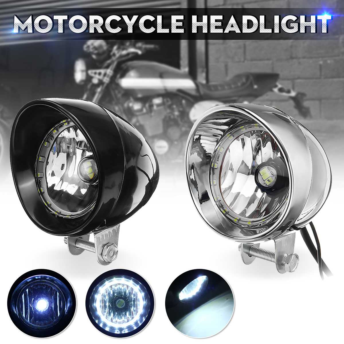 Black Chrome LED Motorcycle Universal Bullet Headlights High/Low Beam Head Light Lamp