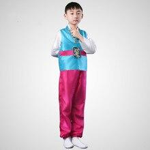 เด็กเกาหลีชุดประจำชาติชายแบบดั้งเดิมฮันบกเกาหลี3ชิ้นเด็กเอเชียแห่งชาติเกาหลีแบบดั้งเดิมเสื้อผ้า18