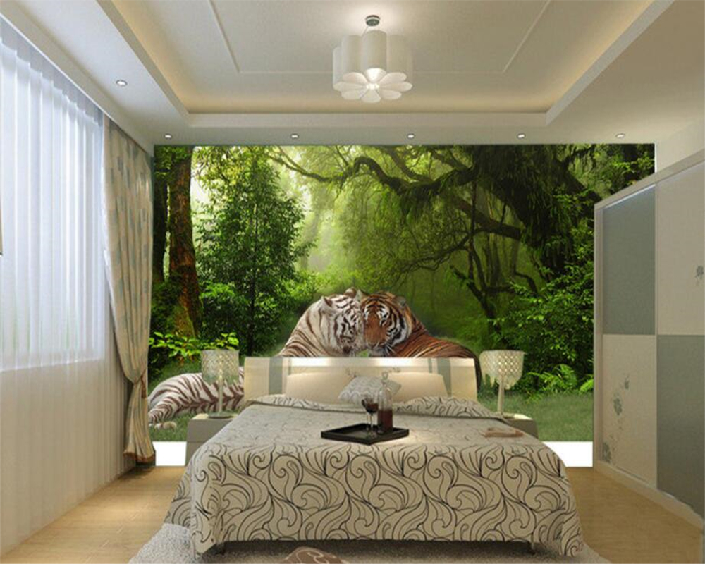 aliexpresscom buy beibehang custom wallpaper living room bedroom background 3d wallpaper forest tiger jungle sofa tv background wall wallpaper from - Bedroom Background