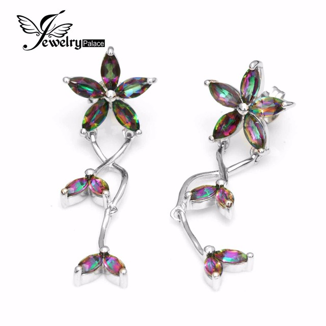 2016 New Solid 925 Sterling Silver 3.5ct Genuine Natural Fire Rainbow Mystic Topaz Drop Earrings Top Quality