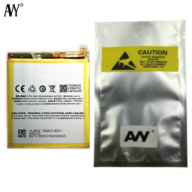 AVY Battery BA712 For MEIZU M6s Meilan S6 Mblu S6 M712Q/M/C M712H Mobile Phone Rechargeable Li-polymer Batteries 2930mAh Tested