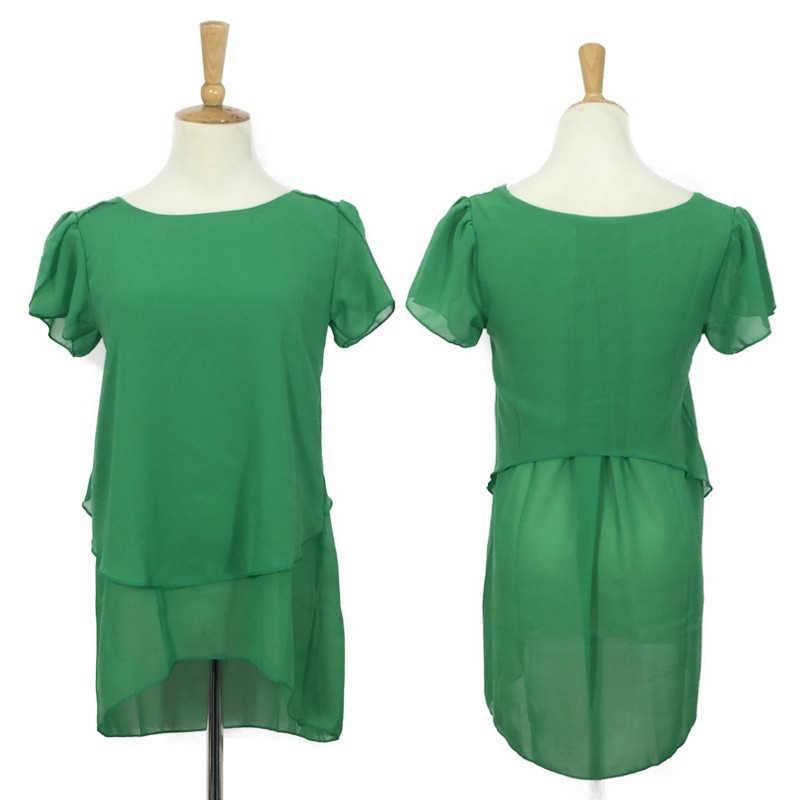 Женская с короткими рукавами шифоновое платье с баской 2018 летние майки Женская Длинная блузка с рюшами плюс размер женские агентства 4xl 5xl