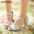 LIN KING New Arrival Woman Spring Summer Fashion Pumps Sandals Sweet Open Toe Princess Low Square heel Buckle Lady Lolita Shoes