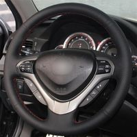 leather hand Top Leather Steering Wheel Hand-stitch on Wrap Cover For Honda Accord Spirior (3)