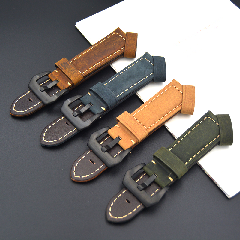 Fast delivery Calf Genuine Leather Watch Strap 22mm 24mm High-grade fashion strap Blue green Brown For Panerai PAM Watch Band