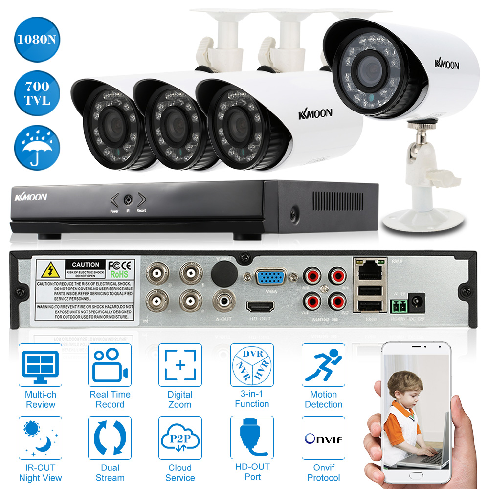 KKmoon CCTV System Video Surveillance Kit 4x700TVL Waterproof Security Camera 4 Channel HDMI 1080N/720P AHD DVR NVR 65ft Cable