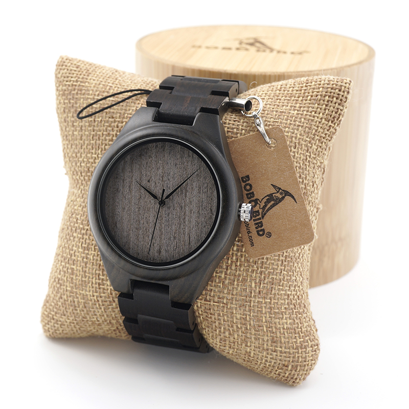 BOBO BIRD Mens Black Ebony Wooden Watch Wood Links Causal Wood Quartz Wrist Watch for Men
