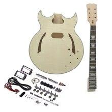 Muslady guitare électrique Kit de bricolage guitare inachevé corps en tilleul Semi creux touche en palissandre manche en érable