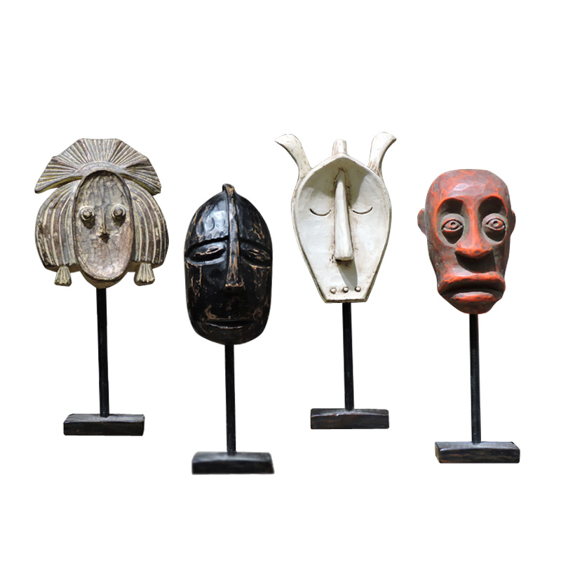 African primitive tribal mask statue character sculpture man figurine modern Nordic cafe bar clothing store decoration