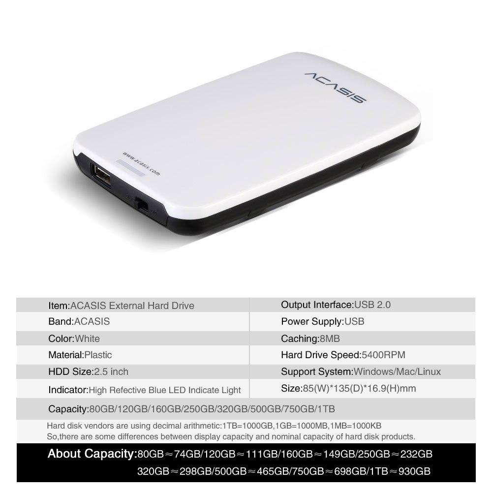 Купить с кэшбэком 2.5''  ACASIS Original HDD External Hard Drive 160GB/250GB/320GB/500GB Portable Disk  Storage USB2.0 Have Power Switch On Sale