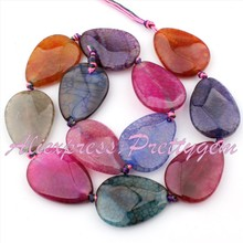 Envío Gratis 22x30mm Gota Facetadas Crackle Ágata Multicolor Joya de Piedra Para El Collar DIY Bracelat Making Spacer Loose perlas de 15″
