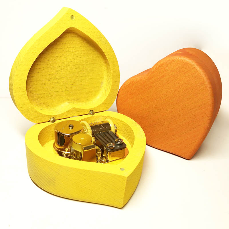 Handmade wind up heart music box, wooden custom engraved personalized gift free shipping