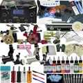 OPHIR Complete Tattoo Kits Body Art Tattoo Rotary Tattoo Machine Gun 9 Color Inks Tattoo Needle Nozzle & Aluminum Box Set_TA008