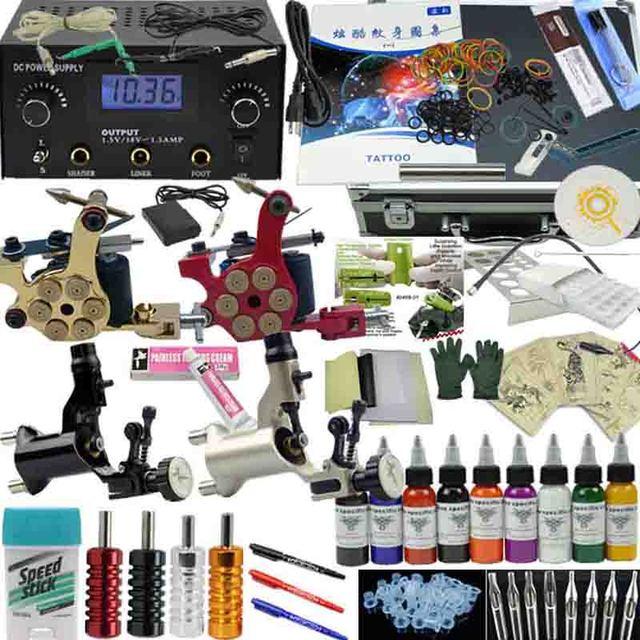 OPHIR Complete Tattoo Kits Body Art Tattoo Rotary Tattoo Machine Gun 9 Color Inks Tattoo Needle Nozzle & Aluminum Box Set_TA008
