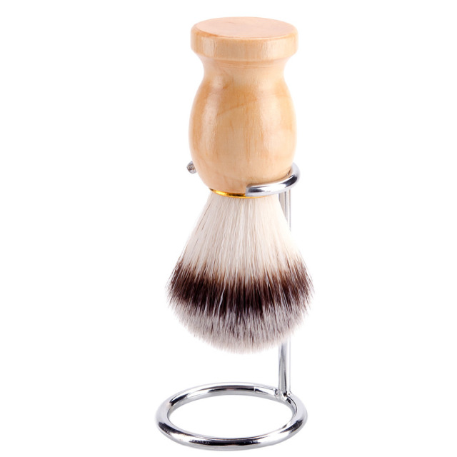 ZY 2in1 Synthetic Nylon Soft Shaving Brush For Man Wood Handle+ Stainless Steel Stand Holder Barber Straight Razor Tool 1