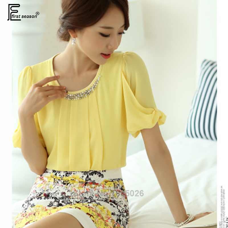 43482d96268b3 2018 Summer Tops New Hot Sale Korean Women Fashion Elegant Short Sleeve  Beaded Top Formal Ladies Patchwork Chiffon Yellow Blouse-in Blouses & Shirts  from ...