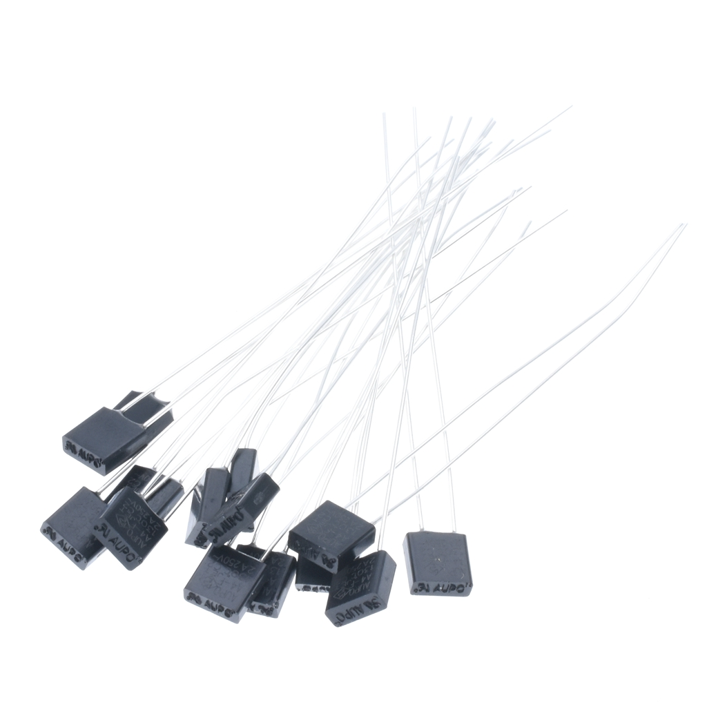 100pcs square black Albemarle temperature <font><b>fuse</b></font> <font><b>2A</b></font> <font><b>250V</b></font> <font><b>130</b></font> degrees RH130# image