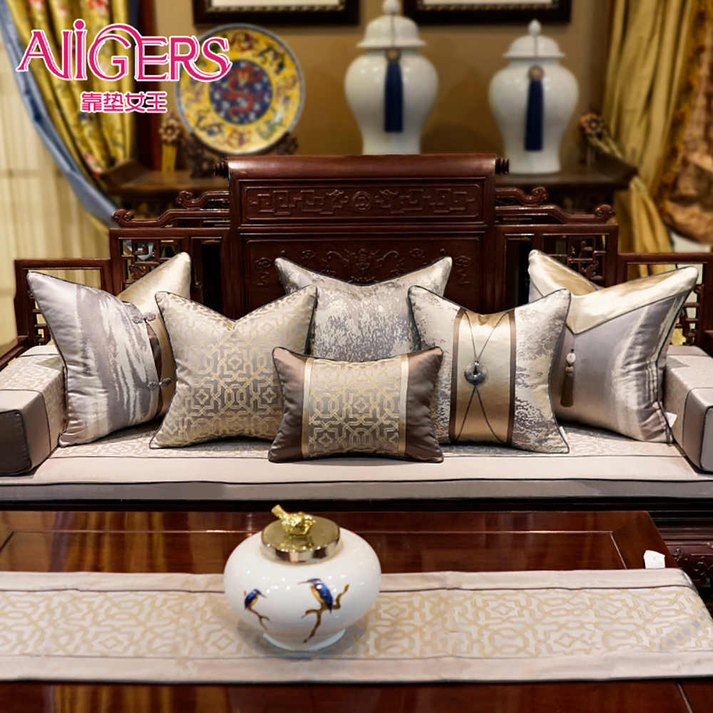 Avigers Luxury Modern Chinese Style Patchwork Throw Pillow Covers Brown Grey Cushion Covers with Tassels 45 x 45 50 x 50cm