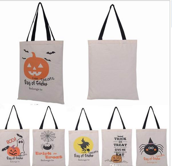 50pcs 6 Types Tote Bags With Black Handle Pumpkin Christmas Ping Festival Gifts Bag Canvas In Stockings Gift Holders From
