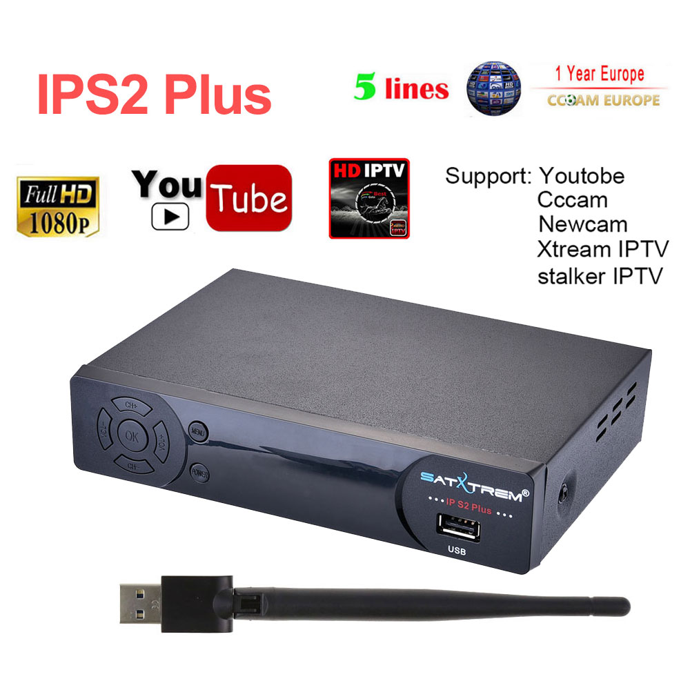IPS2 Plus Digital Satellite Receiver Full HD 1080P DVB-S2 support 1Year French IPTV UK/US/CA/EX-YU/Poland/IT/Europe1800+ live TV