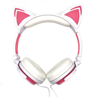 2017 Popular Headphones LED Music Lights Earphone Foldable Cat Ear Rechargeable Headset For Iphone MP4