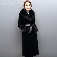 100 Real Direct Supply From Factory Winter Fashion Long Style Women Coats Sheepskin Fur Fox Collar