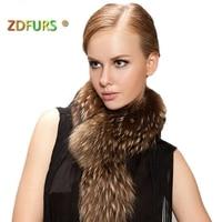 ZDFURS * Real Raccoon Fur Scarf Women 100% Natural Raccoon Fur Collar Winter Warm Fur Collar Scarves 65*18cm ZDC 163014