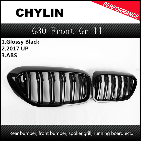 цена на 1 Pair For BMW G30 Front Grille 5 Series G30/G38 Kidney Grill 2-Slat ABS Gloss Black New 4-Door Sedan Car Styling 2017 2018
