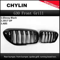1 Pair For BMW G30 Front Grille 5 Series G30/G38 Kidney Grill 2 Slat ABS Gloss Black New 4 Door Sedan Car Styling 2017 2018