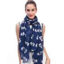 Женский шарф-шаль с животным принтом белки, мягкий легкий большой размер
