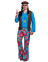 Woman 60s Retro Hippie Peace and Love Free Vest Costume Carnival Party Vintage Adult Male Outfits Clothing Halloween Costumes