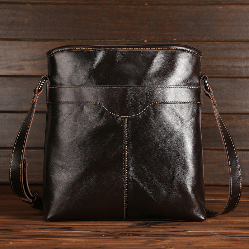 ФОТО Mens Genuine Leather Message Bags Business Crossbody Bags Male Fashion Large Capacity Handbags Leather Necessity Vintage Bags