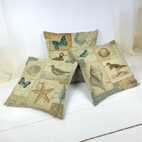 45*45cm high quality 190g environmental COTTON&LINEN The seagulls seahorses cushion cover for house livingroom bedroom