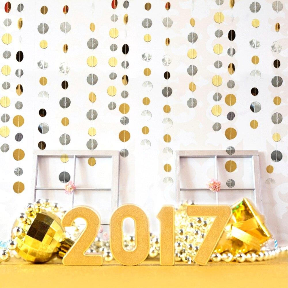 (Gold Silver)Matte Finish Foil Circle Garland Polk...