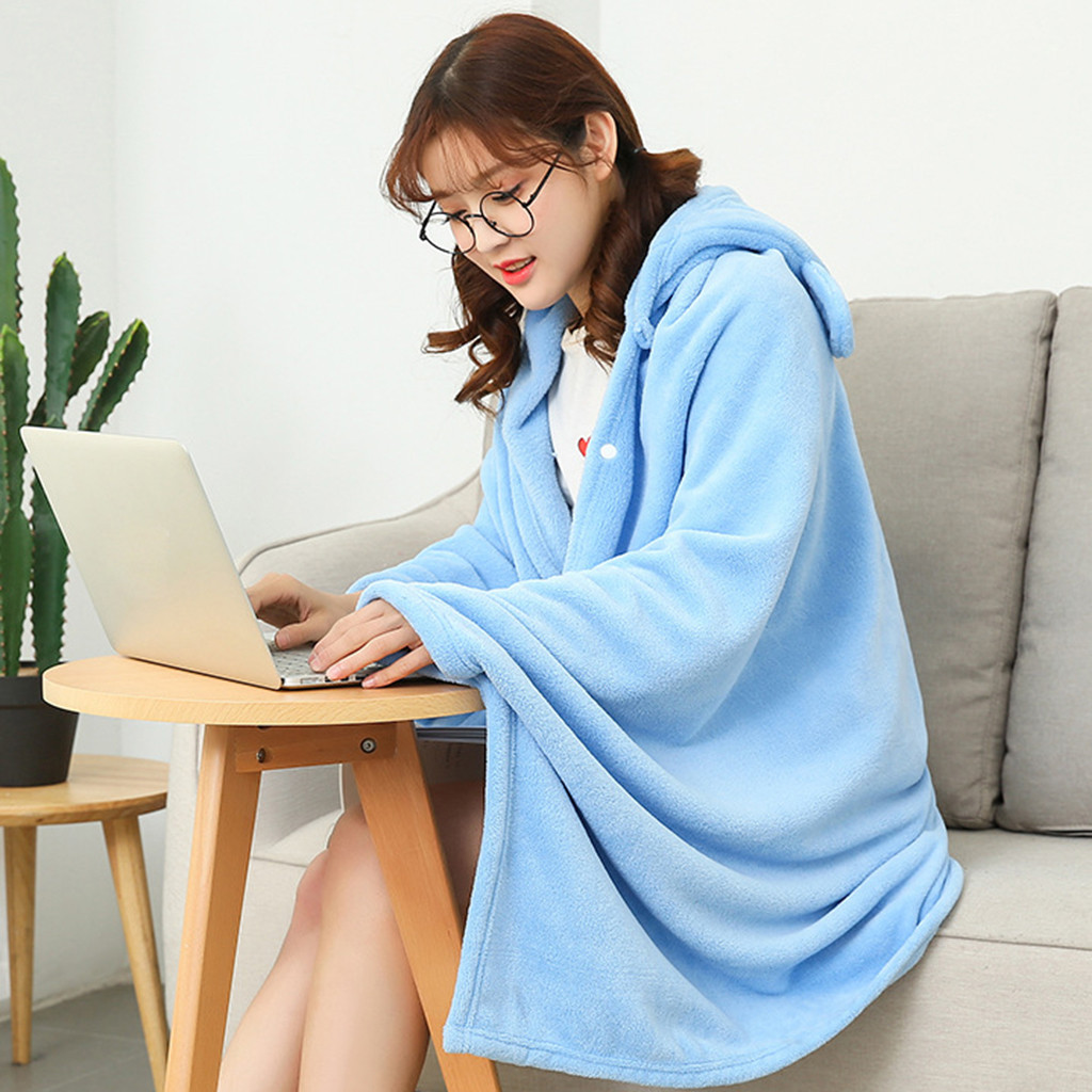 Multifunction Winter Lady Flannel Shawl Blanket Wearable Sofamat Thick Warm Soft Blankets For Beds Sofa Decorativa Relieving Rheumatism Home & Garden